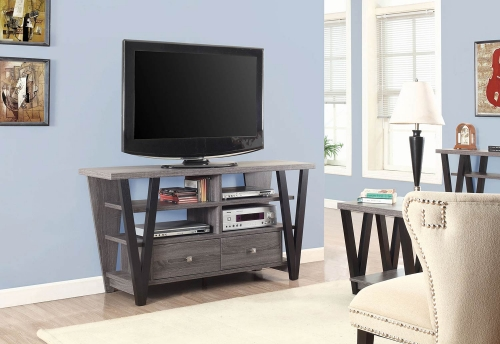 701015 TV Console - Chestnut/ Glossy White