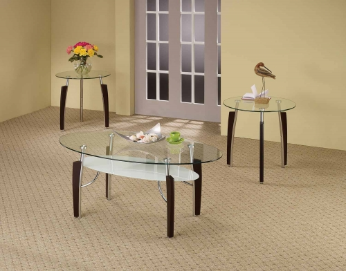 701558 Occasional/Coffee Table Set - Cappuccino/Chrome
