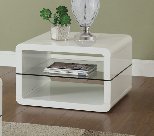 703267 End Table - Glossy White