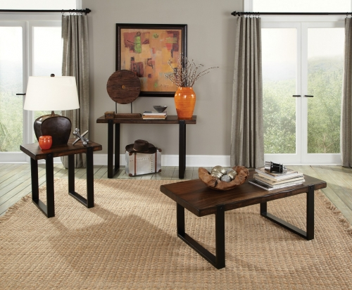 703428 Coffee/Cocktail Table Set - Vintage Brown/black