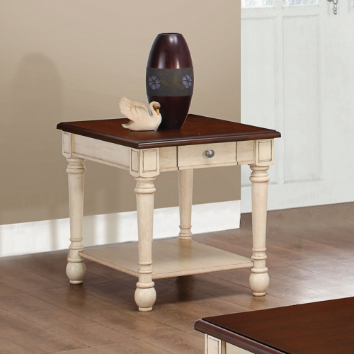 704417 End Table - Dark Brown/ Antique White