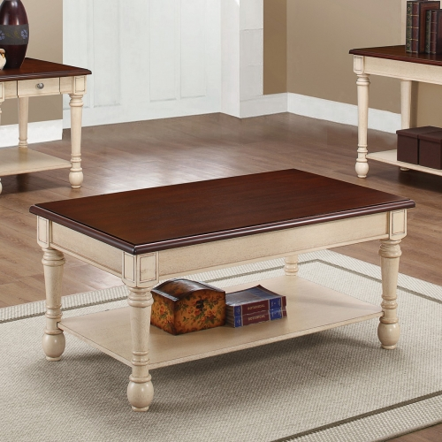 704418 Coffee/Cocktail Table - Dark Brown/ Antique White