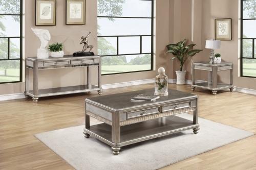 704618 Coffee/Cocktail Table Set - Metallic Platinum