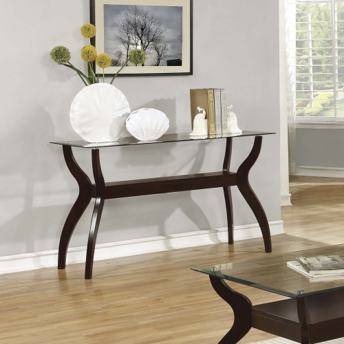 704628 Sofa Table - Cappuccino / Tempered Glass