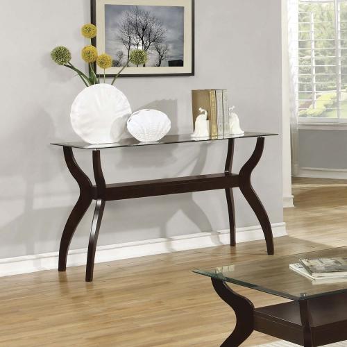 704628 Sofa Table - Cappuccino / Tempered Glass