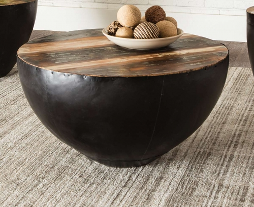 705538 Coffee Table - Natural Reclaimed Wood/Black Iron