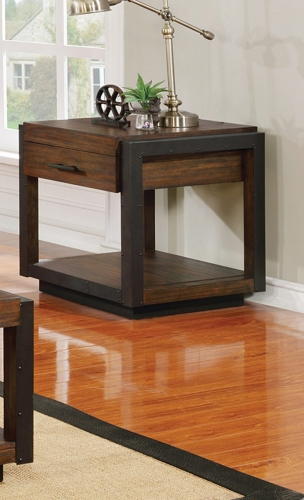 Sawyer Storage End Table - Linen/Dark Brown