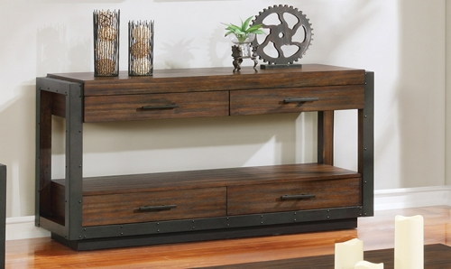 Sawyer Sofa Table - Linen/Dark Brown