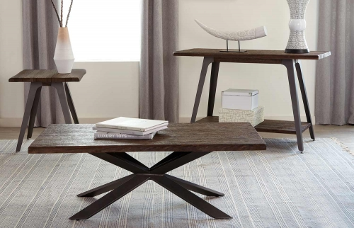 Emmett Coffee Table Set - Brown/Espresso