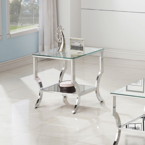 720338 End Table - Chrome / Tempered Glass