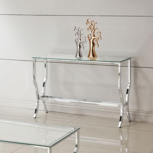 720338 Sofa Table - Chrome / Tempered Glass