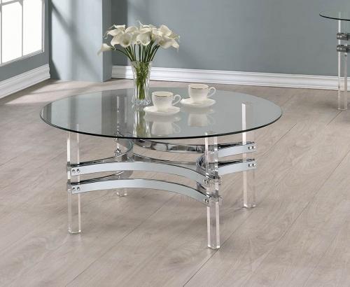 Coaster 720708 Coffee Table - Chrome/Clear Acrylic