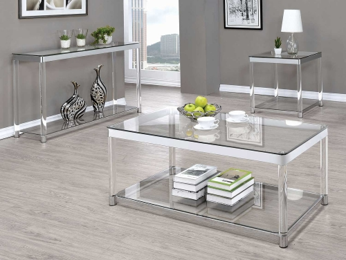 720748 Occasional/Coffee Table Set - Chrome/Clear Acrylic