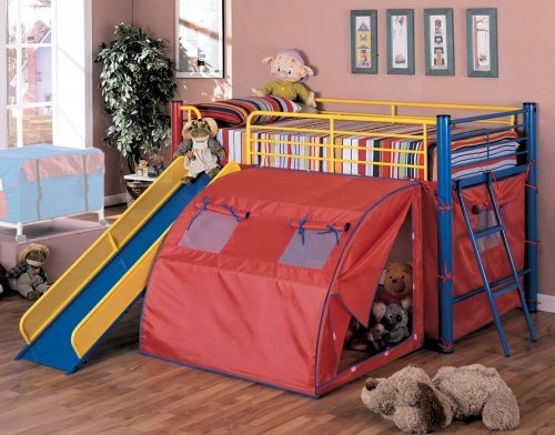 Oates Loft Bed with Slide and Tent
