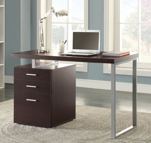 Hillard Writing Desk - Cappuccino/Silver