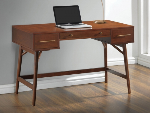 800744 Writing Desk - Walnut Veneer/Bronze