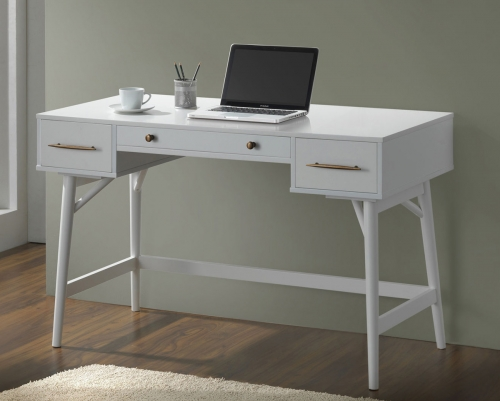 800745 Writing Desk - White/Bronze