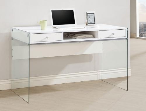 800829 Computer Desk - Glossy White