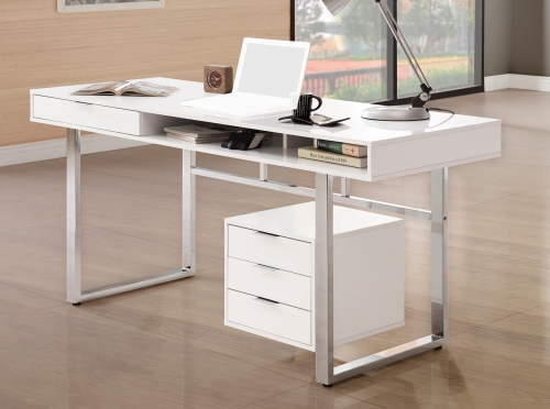800897 Writing Desk - Glossy White