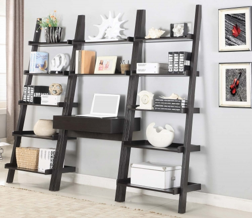Colella Ladder Desk and Bookcase Set - Cappuccino