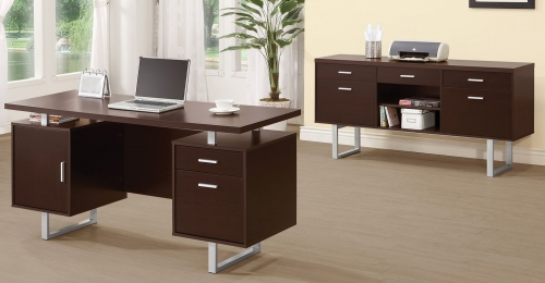 Glavan Home Office Set - Cappuccino/Silver
