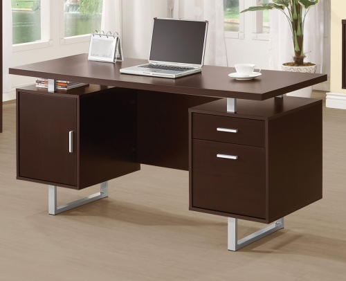 Glavan Office Desk - Cappuccino/Silver
