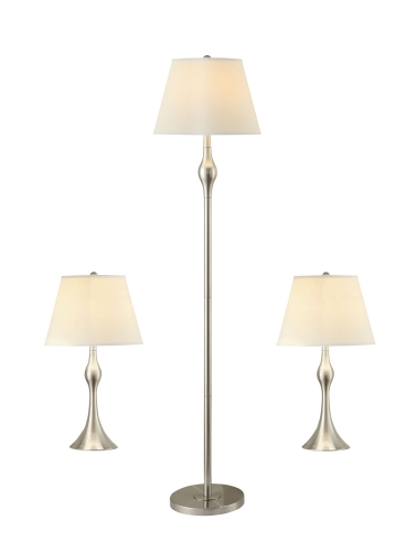 901235 3 PC. Lamp Set - Nickel/Faux Silk