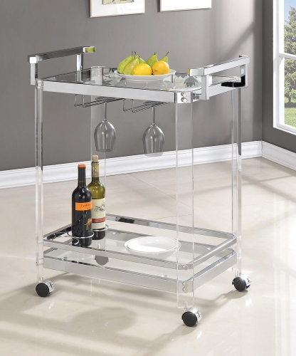902589 Serving Cart - Clear Acrylic/Chrome