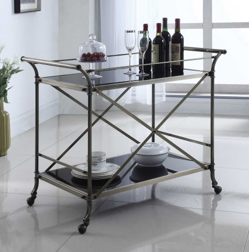 910190 Serving Cart - Antique Brass