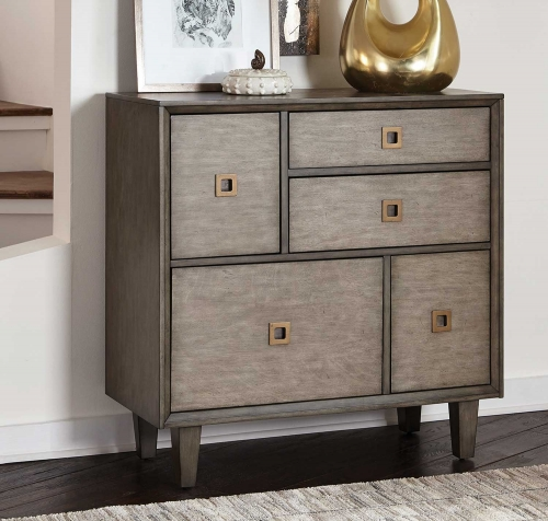 950759 Accent Cabinet - Grey/Antique Brass