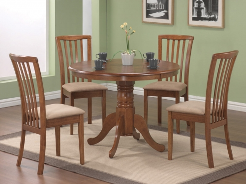 Brannan Round Pedestal Dining Set - Maple