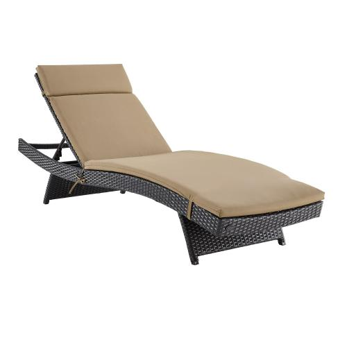 Biscayne Outdoor Wicker Chaise Lounge - Mocha/Brown