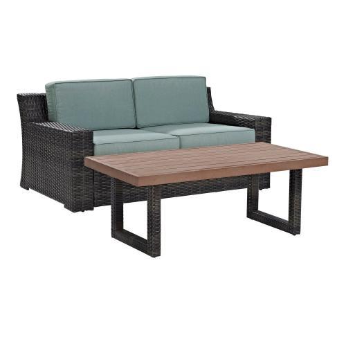 Beaufort 2-PC Outdoor Wicker Conversation Set - Loveseat, Coffee Table - Mist/Brown