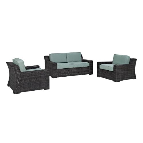 Beaufort 3-PC Outdoor Wicker Conversation Set - Loveseat, 2 Chairs - Mist/Brown