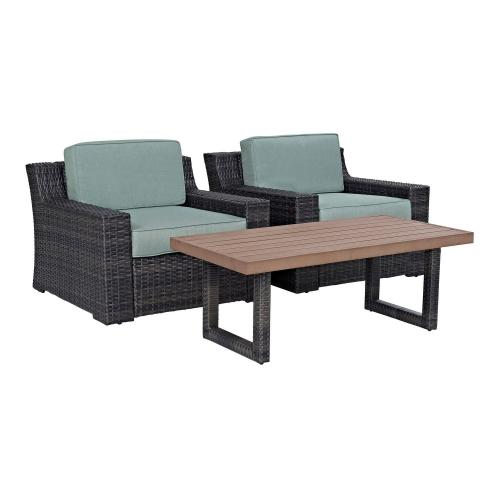 Beaufort 3-PC Outdoor Wicker Chair Set - Coffee Table and 2 Chairs - Mist/Brown