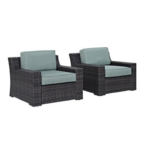 Beaufort Outdoor Wicker Chair - Set of 2 - Mist/Brown