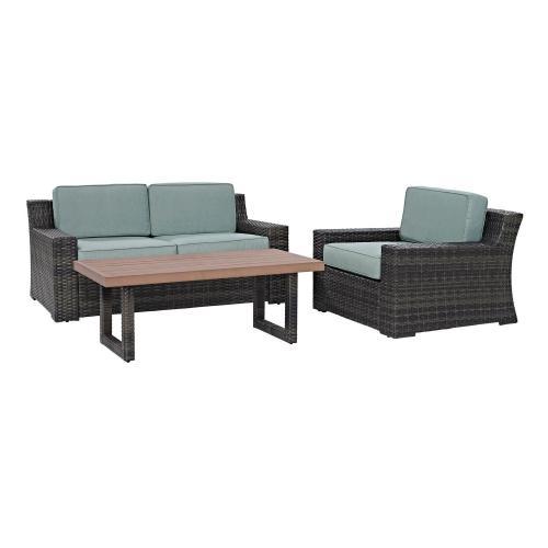 Beaufort 3-PC Outdoor Wicker Conversation Set - Loveseat, Chair, Coffee Table - Mist/Brown
