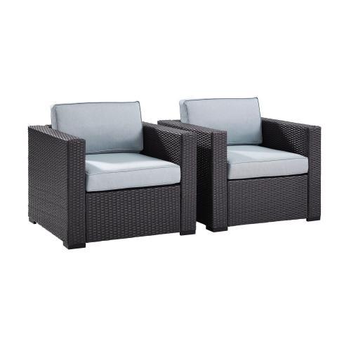 Biscayne Outdoor Wicker Chair - Set of 2 - Mist/Brown