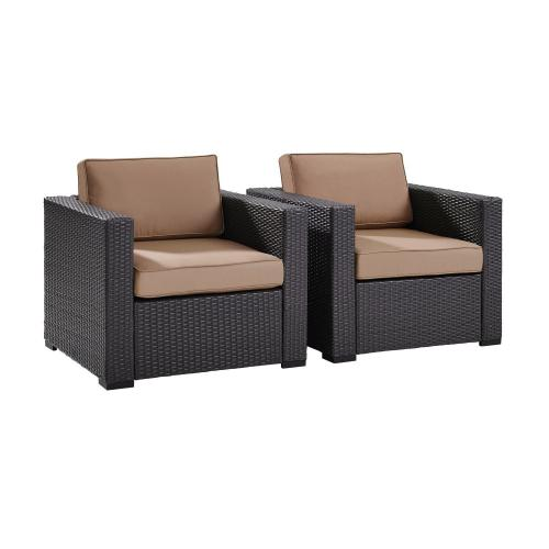 Biscayne Outdoor Wicker Chair - Set of 2 - Mocha/Brown