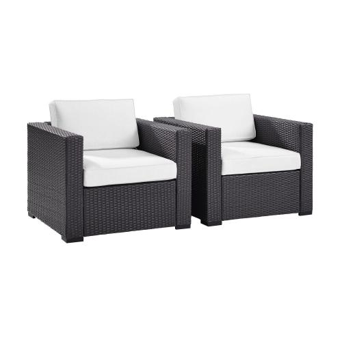 Biscayne Outdoor Wicker Chair - Set of 2 - White/Brown