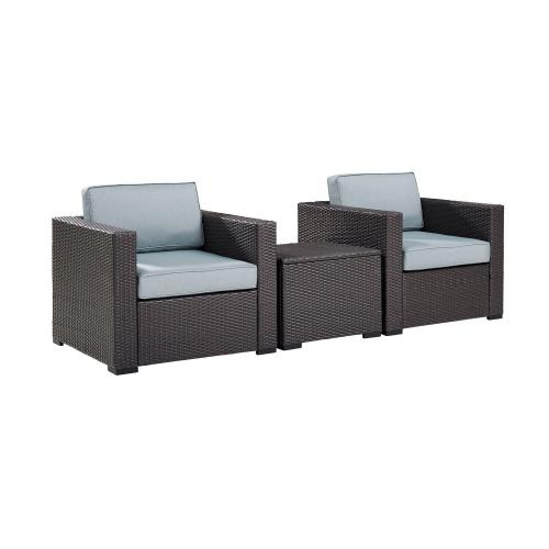 Biscayne 3-PC Outdoor Wicker Chair Set - Coffee Table and 2 Chairs - Mist/Brown