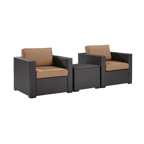 Biscayne 3-PC Outdoor Wicker Chair Set - Coffee Table and 2 Chairs - Mocha/Brown