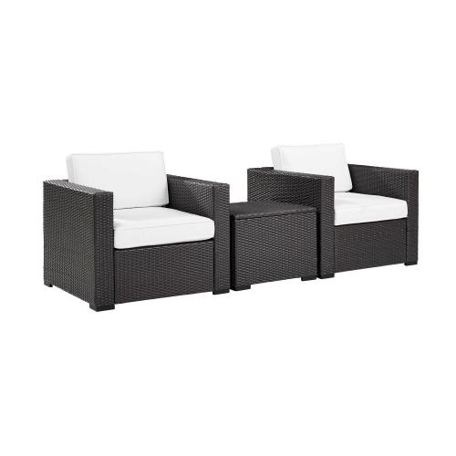 Biscayne 3-PC Outdoor Wicker Chair Set - Coffee Table and 2 Chairs - White/Brown