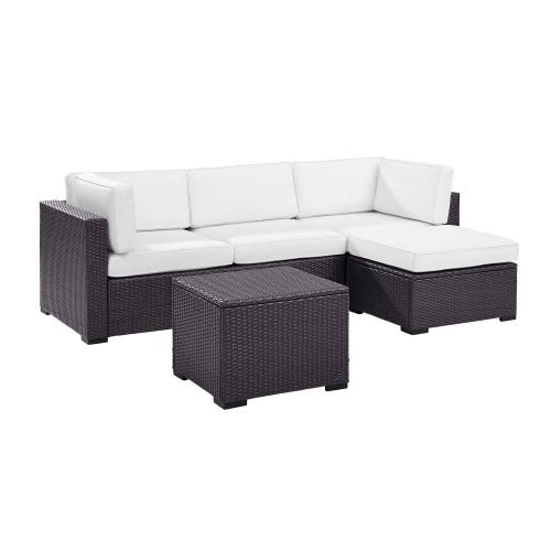Biscayne 4-PC Outdoor Wicker Sectional Set - Loveseat, Corner Chair, Ottoman, Coffee Table - White/Brown