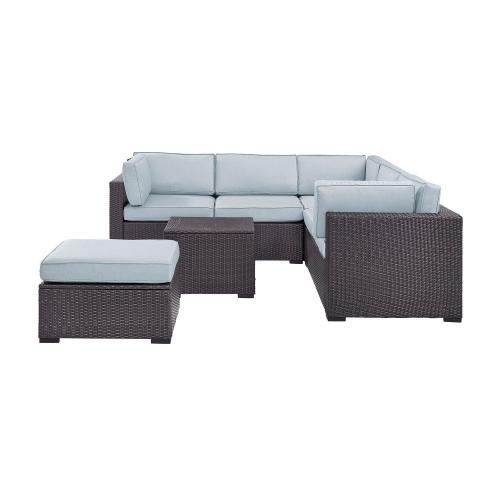 Biscayne 5-PC Outdoor Wicker Sectional Set - 2 Loveseats, Corner Chair, Coffee Table, Ottoman - Mist/Brown
