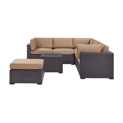 Biscayne 5-PC Outdoor Wicker Sectional Set - 2 Loveseats, Corner Chair, Coffee Table, Ottoman - Mocha/Brown