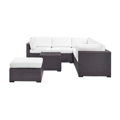 Biscayne 5-PC Outdoor Wicker Sectional Set - 2 Loveseats, Corner Chair, Coffee Table, Ottoman - White/Brown