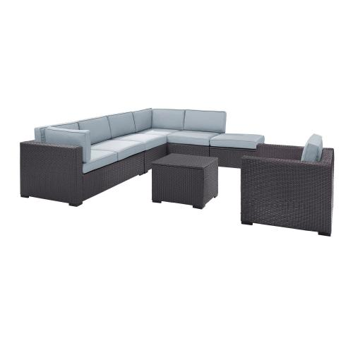 Biscayne 6-PC Outdoor Wicker Sectional Set - 2 Loveseats, Armless Chair, Arm Chair, Coffee Table, Ottoman - Mist/Brown