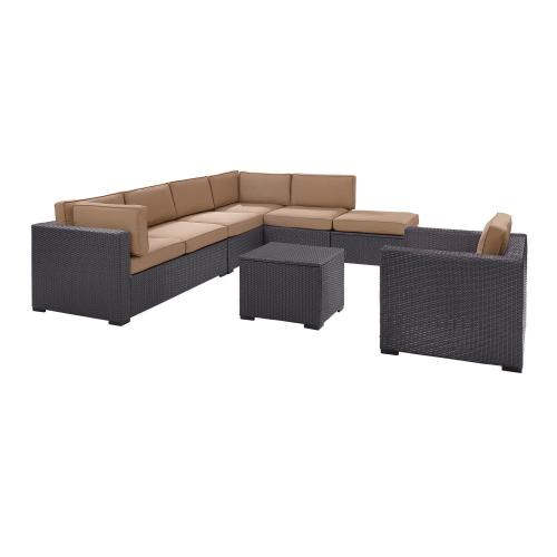 Biscayne 6-PC Outdoor Wicker Sectional Set - 2 Loveseats, Armless Chair, Arm Chair, Coffee Table, Ottoman - Mocha/Brown