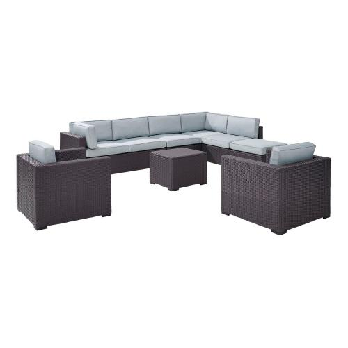 Biscayne 7-PC Outdoor Wicker Sectional Set - 2 Loveseats, 2 Arm Chairs, Armless Chair, Coffee Table, Ottoman - Mist/Brown